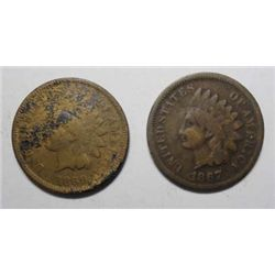 1867 Indian pennys Nice color Good+