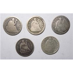 5 Seated half dimes  better dates