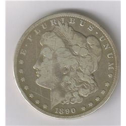 1890-CC  MORGAN SILVER DOLLAR, F
