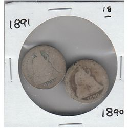 1891 1890 SEATED DIMES