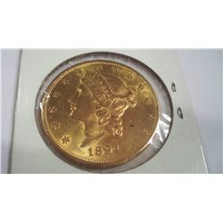 1894-S $20 Gold Liberty Coin, BU