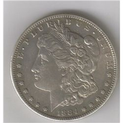 1884-S  AU  SILVER MORGAN DOLLAR
