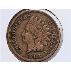 1862 INDIAN HEAD CENT, XF