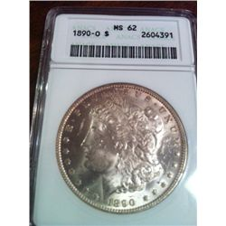 1890-O  MORGAN SILVER DOLLAR, ANACS GRADED MS-62