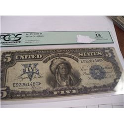 1899 Chief $5 Silver Certificate, Graded PCGS F-15 (1480)