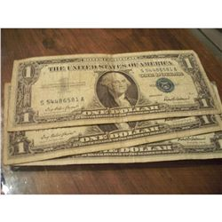 5 SERIES 1957 $1 SILVER CERTIFICATE NOTES
