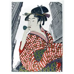 Michael Knigin, Woman Playing a Poppin (After Utamaro), Serigraph