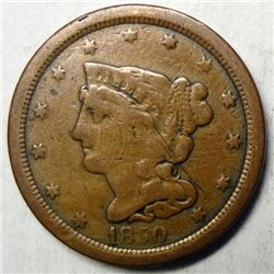 1850 half cent Fine couple marks obv/rev but nice color