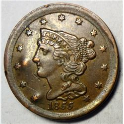 1855 half cent XF45 but a couple hits from rev bulged obv