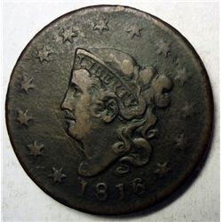 1816 large penny  Fine with couple marks obv