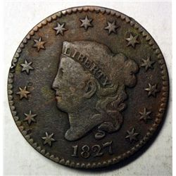 1827 large penny  VG/F