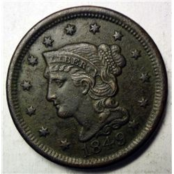 1849 large penny  XF very lite corrosion
