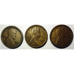 1910S F-14S F and a VF 16S Lincoln penny