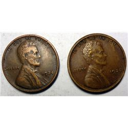 1922D and 24D  nice VF Lincoln penny
