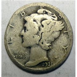 1921D  Mercury dime Good