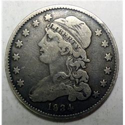 1834 Bust quarter  F/VF mark over 8 in date