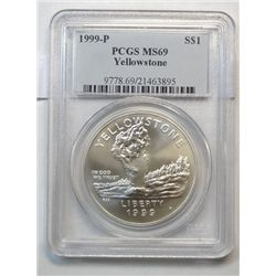 1999-p Yellowstone Nat. Park Commemorative Silver Dollar PCGS ms69
