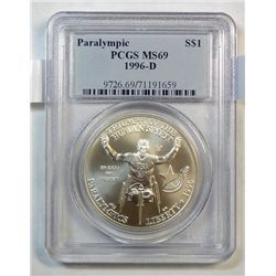 1996-D Wheelchair Athlete Commemorative silver dollar PCGS MS69