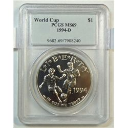 1994-D World Cup commemorative silver dollar  PCGS ms69