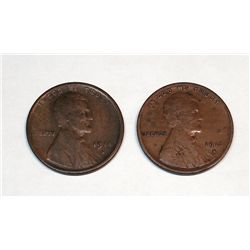 1915-S AND 1914-S LINCOLN ONE CENT VG