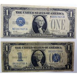 2 funny back silver certificates  1928A  fine