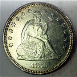 1876 Seated quarter  XF/AU  borderline AU  AU GS bid = $125