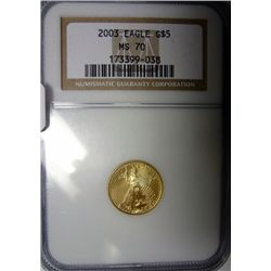 2003 1/10th oz. gold Gold Eagle  NGC70