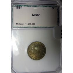 1884 V nickel  PCI65   65 GS bid = $1350