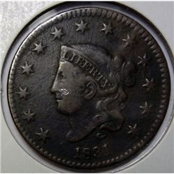1831 large penny VF