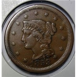 1853 large penny XF near perfect color