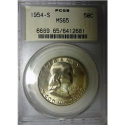 1954  NGC65 and a 54S PCGS65 Franklin half $