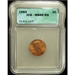 1983/83 DOUBLED DIE REVERSE LINCOLN CENT, ICG MS66 RED NICE, RARE! FS-801