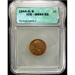 1944-D/S D OVER S LINCOLN CENT, ICG MS64 RB RARE!  FS-512, OMM-2