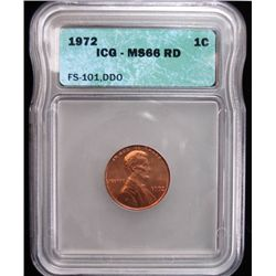 1972/72 DOUBLED DIE OBVERSE LINCOLN CENT, ICG MS66 RED NICE, RARE! FS-101