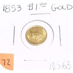 1853 Liberty Head $1 Gold Coin *RARE MS-63 HIGH GRADE*!!