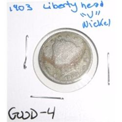 "1903 Liberty Head ""V"" Nickel *GOOD-4 CONDITION*!!"