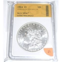 1904-O Morgan Silver Dollar *RARE CERTIFIED MS-67 by SGS*!! Serial # 660067904.05212.