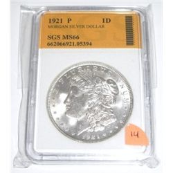 1921-P Morgan Silver Dollar *RARE CERTIFIED MS-66 by SGS*!! Serial # 662066921.05394.