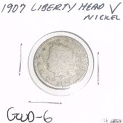 "1907 Liberty Head ""V"" Nickel *GOOD-6 CONDITION*!!"
