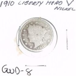 "1910 Liberty Head ""V"" Nickel *GOOD-8 CONDITION*!!"