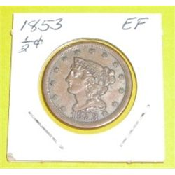 1853 1/2 Cent *EXTREMELY RARE EXTRA FINE GRADE*!!!