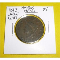 1818 Matron Head Large Cent *EXTREMELY RARE EXTRA FINE GRADE*!!!