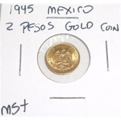 1945 Mexico 2 Pesos Gold Coin *MS+ HIGH GRADE*!!