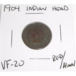 1904 Indian Head Penny *RED/BROWN VERY FINE-20 GRADE*!!!