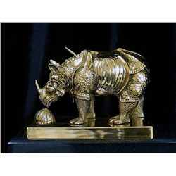 Salvador Dali Limited Edition 24K Gold Layered Bronze  RHINOCEROS Sculpture