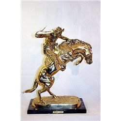 F. Remington Monumental Limited Edition 24K Gold Layered Bronze Sculpture  -Bronco Buster