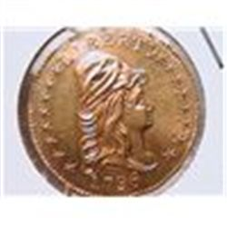 1796 $2 1/2 Gold Bust BU REPLICA, .9167% pure gold