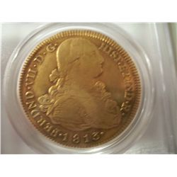 1813 Large Spanish 8 Escudo Gold Coin, PCGS XF-45