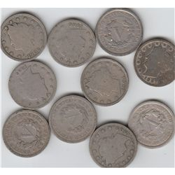 10 LIBERTY V NICKELS