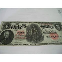 1907 $5 Woodchopper Legal Tender, VF